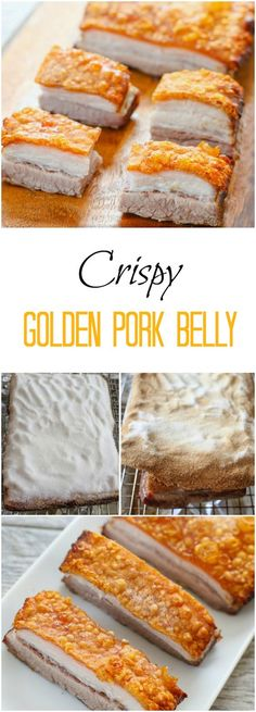 Crispy Golden Pork Belly - Kirbie's Cravings - make a salt crust, bake, remove salt crust, magic Chinese Chicken Recipes, Easy Chinese Recipes, Asian Recipes, Authentic Chinese Recipes, Hawaiian Recipes, Best Pork Belly Recipe, Pork Recipes, Cooking Recipes, Crispy Pork Belly Recipes