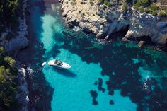 Exploring secluded coves in Mallorca on board the Princess V48 Open #experiencetheexceptional #destination #Mallorca #travel