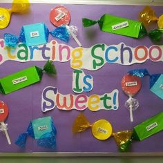 This Starting School is Sweet! - Back-To-School Bulletin Board Idea is just one of our many bulletin board ideas. We have thousands of fun and unique teaching ideas that are great for the classroom and at home! Kindergarten Bulletin Boards, Back To School Bulletin Boards, Classroom Bulletin Boards, Preschool Kindergarten, Preschool Door, September Preschool, Kindergarten Reading, Candy Theme Classroom, Classroom Decor