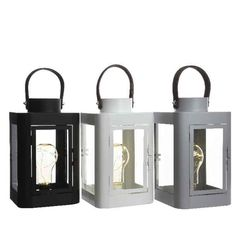 Buy Metal Lantern with Micro LED Bulb at Scottish Antique and Arts Centre (LED Lights) - A chic industrial style metal lantern. Buy Metal, Metal Lanterns, Candle Sconces, Industrial Style, White Leather, Bulbs, Wall Lights, Led, Black And White