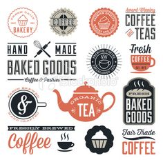 Vintage Cafe and Bakery Designs Royalty Free Stock Vector Art Illustration