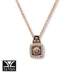 LeVian Chocolate Diamonds 1/4 cttw Necklace 14K Strawberry Gold