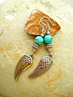 Boho Earrings  Boho Jewellery  Silver Wing by HandcraftedYoga, $26.00