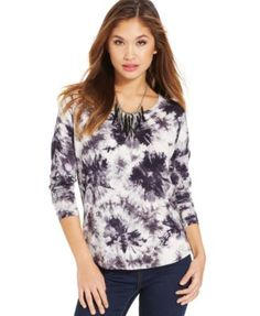 Pink Rose Juniors' Tie-Dye-Print Scoop-Neck Top