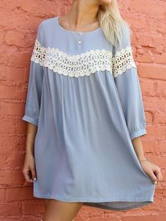 COLOR: Blue DETAIL: Lace DRESSES LENGTH: Mini MATERIAL: Chiffon (100% Polyester ) NECKLINE: Round neck SILHOUETTE: Shift SLEEVE LENGTH: 3/4 sleeve Size Availabl
