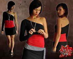 Dress - black, red and stripes