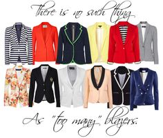 Stylish blazers with different cuts to them.  Red, Tan, Striped, Houndstooth, Grey, Yellow...ok well pretty much any color!