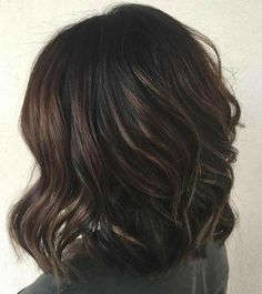 70 Flattering Balayage for 2019 Hair Color new hair color ideas for black hair - Hair Color Ideas Balayage Hair Dark Short, Black Hair Ombre, Hair Color Balayage, Ombre Hair, Dark Balayage, Caramel Balayage, Hair Colour, Black Hair With Lowlights, Black Hair With Highlights