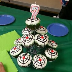 Laser tag cupcakes for laser tag birthday party