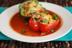 Mexican Stuffed Peppers w/ Quinoa & Black Beans - serve with chicken tacos or add shredded chicken?