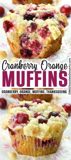 Cranberry Orange Muffins, Lemon Blueberry Muffins, Cranberry Breakfast Recipes, Muffin Recipes, Baking Recipes, Cookie Recipes, Bread Recipes, Oreo Dessert, Orange Dessert