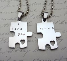 85e723ef4c Couples Necklace Set, I Love You More Puzzle Piece - Custom - His & Hers-  Fiance BFF Boyfriend Husband Partner Fathers Day Valentine's Day