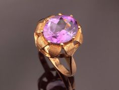 Vintage Amethyst Gold Ring from 1970s in by BelmontandBellamy