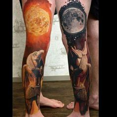 Awesome Horus and Anubi tattoos! I want both on my legs! :D