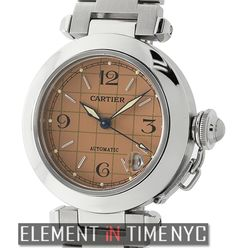 Element In Time | Cartier Pasha Collection Pasha C Stainless Steel 35mm Salmon Grid Dial