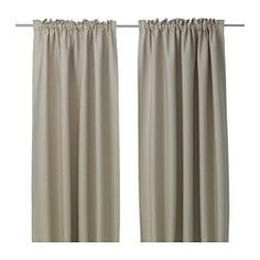 IKEA - VILBORG, Curtains, 1 pair, , The densely woven curtains darken the room and provide privacy by preventing people outside from seeing into the room.Effective at keeping out both drafts in the winter and heat in the summer.The curtains can be used on a curtain rod or a curtain track.The heading tape makes it easy for you to create pleats using RIKTIG curtain hooks.You can hang the curtains on a curtain rod through the hidden tabs or with rings and hooks.