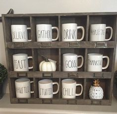 Rae Dunn Mugs, All mugs in Description! Chill, Yolo, Blessed, Create, Hashtag, Yours, Crazy, Friend, Hustle by RamblingStorm on Etsy https://www.etsy.com/listing/476215061/rae-dunn-mugs-all-mugs-in-description
