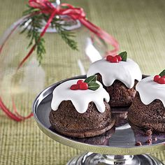 Snowy Chocolate Baby Cakes - Showstopping Christmas Cake Recipes - Southern Living