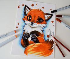 Fox Cub by Lighane on DeviantArt Cute Animal Drawings, Cool Art Drawings, Kawaii Drawings, Colorful Drawings, Art Drawings Sketches, Disney Drawings, Drawings Of Animals, Drawing Ideas, Copic Kunst