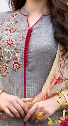 Style Heave: Neck Design For Women Charmed Dress Up Chudidhar Neck Designs, Salwar Neck Designs, Churidar Designs, Kurta Neck Design, Neck Designs For Suits, Neckline Designs, Dress Neck Designs, Sleeve Designs, Blouse Designs