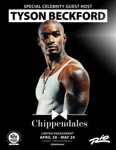 Our next Chippendales celebrity guest host is model and actor Tyson Beckford!  Tyson will be hitting the stage from April 30 to May 24 - and you can reserve your tickets starting today! You don't want to miss this...