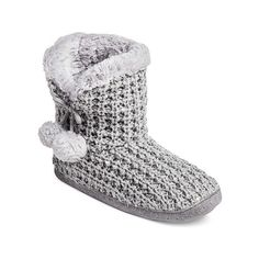 Women's Slipper Cable Knit Bootie (1740 RSD) ❤ liked on Polyvore featuring shoes, slippers and grey