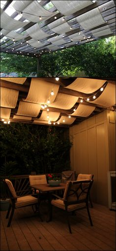 10 Creative DIY Outdoor Shady Space Ideas----DIY drop cloth fabric shade cover