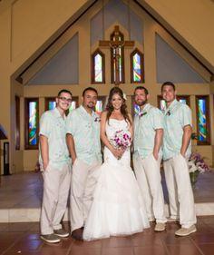 The bride and groomsmen at Sacred Hearts Mission Church in Kapalua  | Maui Wedding | Maui Bride | Destination Wedding