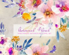 Watercolour Floral Clipart. Handmade, watercolour clipart, wedding diy elements, flowers - Autumnal Floral