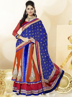 Blue and Orange Color Georgette and Net 1 Minute Designer Saree : Divina Collection YF-23146