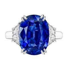 8.89 Carat Oval-Cut Sapphire & Diamond Ring