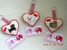Valentines Gift Keyring Never Forget I Love You Card Dachund Westie Yorkie Dogs