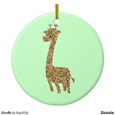 Giraffe Double-Sided Ceramic Round Christmas Ornament