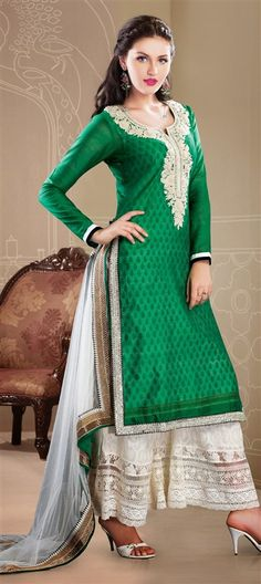 410501: Green color family stitched Party Wear Salwar Kameez.