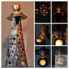 Andělky | Andělské světlo | Andelske-svetlo.cz | Keramické výrobky Pottery Angels, Paper Clay Art, Ceramic Angels, Paper Mache Sculpture, Lanterns, Victorian, Homemade, Dolls, Diy