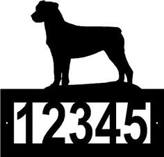 """Custom Crafted ROTTWEILER Steel Address Sign by Designs of Steel. $29.99. Number frame has two pre-drilled mounting holes, mounting hardware is not included.. Overall sign is apprx 12"""" x 12"""". Numbers are apprx 3"""" tall.. Customized with your house number, 5 digit spaces available.. Each sign is made to order. Please allow approximately 2-3 weeks to craft before shipping.. Custom crafted from 1/8"""" hot roll steel with a black texture powdercoated finish.. FREE SHIP..."""