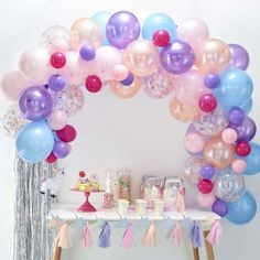 This Ginger Ray Pastel Balloon Arch Kit includes balloon tape and pastel-colored balloons that come in different sizes and designs. Use this balloon arch kit to decorate for an Easter party, baby shower, or any other occasion! Diy Ballon, Balloon Arch Diy, Ballon Rose, Balloon Backdrop, Balloon Garland, Balloon Decorations, Baby Shower Decorations, Purple Birthday Decorations, Ballon Arch