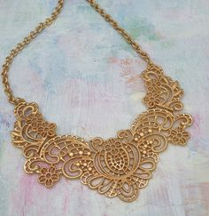 jewelry with lace | gold lace necklace £ 20 95 stunning lace effect bib necklace in ...