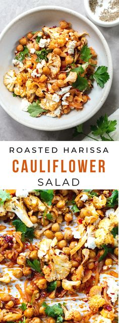 Roasted Cauliflower Salad with Harissa Chickpeas: An easy, flavor-packed Moroccan-inspired roasted cauliflower salad recipe, with harissa and roasted chickpeas. Vegetarian (with vegan option salad Roasted cauliflower salad with harissa chickpeas Best Salad Recipes, Fruit Salad Recipes, Chicken Salad Recipes, Vegetarian Recipes, Healthy Recipes, Fruit Salads, Meat Recipes, Delicious Recipes, Roasted Cauliflower Salad