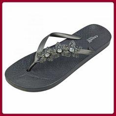 Capelli New York Komfort-Sandalen 'Triple Flower', Groesse:37;farbe:pewter grey - Zehentrenner für frauen (*Partner-Link)