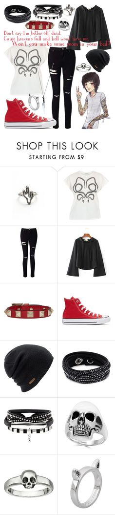 """""""Untitled #240"""" by inthenight ❤ liked on Polyvore featuring Yves Saint Laurent, Miss Selfridge, WithChic, Sykes, Valentino, Converse, Coal, Swarovski, Effy Jewelry and King Baby Studio"""