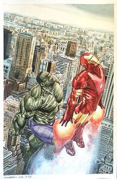 #Hulk #Fan #Art. (Esad Ribic Cover Recreation featuring Hulk and Iron Man) By: Michael Sta Maria. ÅWESOMENESS!!!™ ÅÅÅ+
