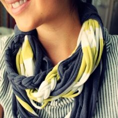 A trendy scarf made from old t-shirts!  An easy tutorial!