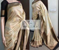 - Price , Moonga Tussar Saree With Banarasi Border. Phulkari Saree, Kasavu Saree, Banarasi Sarees, Saree Blouse Neck Designs, Dress Neck Designs, Blouse Designs, Simple Sarees, Trendy Sarees, Chiffon Saree