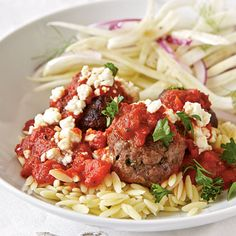 Greek Pasta with Meatballs   http://www.myrecipes.com/recipe/greek-pasta-with-meatballs-10000001932639/