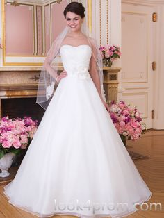 A-line Sweetheart Ruffles Wedding Dresses
