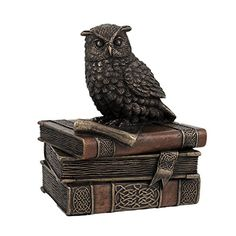 Bronzed Finish Wise Old Owl Trinket Box -- Click on the image for additional details.
