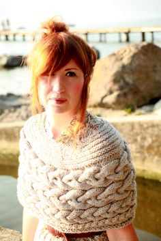 Hand Knit Capelet Shoulder Shrug Shoulder Wrap by ChunkyAddict