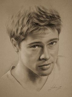 Pencil Portrait Celebrity Pencil Portraits - Brad Pitt - Armed with graphite and beige paper, pencil-wielding Polish artist Krzysztof Lukasiewicz portrays famous faces. Here's a step-by-step of his drawing of George Clooney, from initial sketch to … Portrait Au Crayon, Pencil Portrait, Realistic Pencil Drawings, Realistic Paintings, Face Drawings, Horse Drawings, Animal Drawings, Celebrity Drawings, Celebrity Portraits