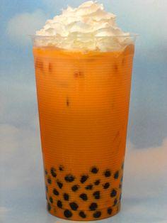 Thai tea boba with whipped cream